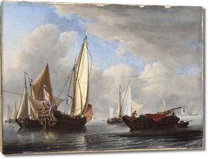 Виллем ван де Вельде, мл. Яхта и другие суда в штиль