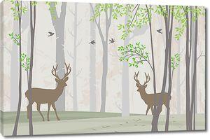 Коричневые силуэты оленей