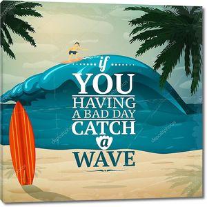 поймать плакат серфинг волны