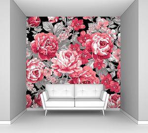 Красные розы на черном