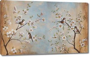 Певчие птички на ветках