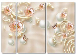 Шелковый фон,  декоративные цветы, белый жемчуг