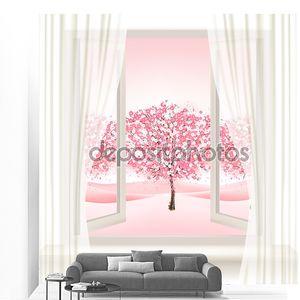 Розовый сакуры дерево вид из окна. Вектор.