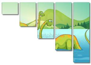 Динозавры, стоя в реке