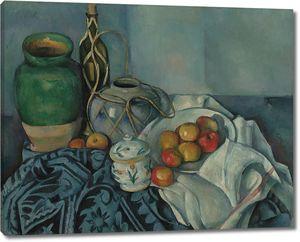 Поль Сезанн. Натюрморт с яблоками и сахарницей