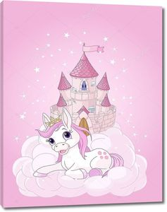 Розовая фея замок и Единорог