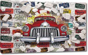 Ретро автомобиль пробивает стену с автомобильными номерами