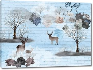 Blue brick background, the contours of trees and deer, dark and light flower buds