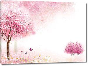 Поляна с розовыми деревьями