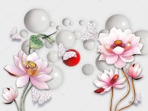 Розовые цветы лотоса, зеленая стрекоза, белые бабочки