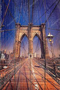 Бруклинский мост и Манхэттен Нью-Йорк нас
