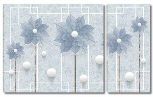 Цветы вписаны в геометрический узор