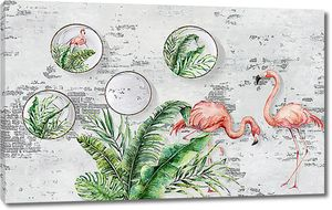 Фламинго с папоротником