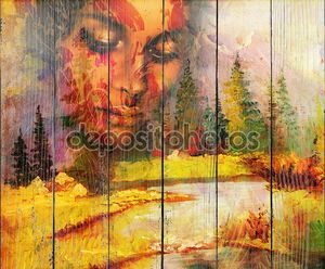 Goddess woman, with ornamental face and landscape with mountains lake and trees, and color abstract background. meditative closed eyes.
