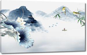 Птицы с голубыми лотосами