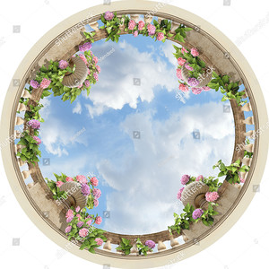 Круг вид снизу с вазами и небом