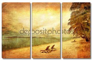 Экзотические тропический пляж в стиле ретро