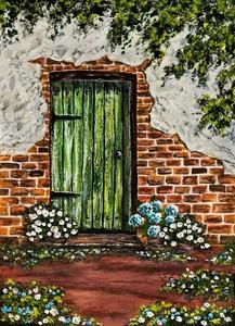 Зеленая дверь в деревенский дом