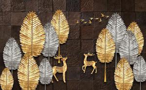 Золотые деревья на плитке