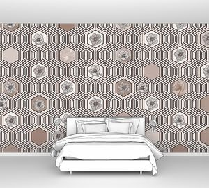 Geometrical fusion-светло-коричневый орнамент из сот