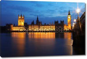 Биг Бен и Вестминстерский дворец на вечер, Лондон, Великобритания