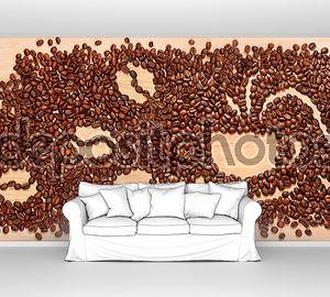Кофейные зерна, корицу и миндальное печенье