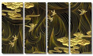 Птицы на фоне золотых нитей