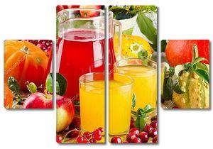 Осенний натюрморт с соком, фруктами и овощами