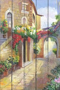 Живописная улочка с множеством цветов