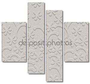 Белый, текстурированный фон, цветочный, бесшовный, 3D