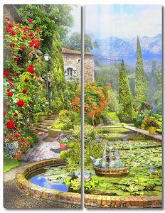 Прекрасный пруд в зеленом саду