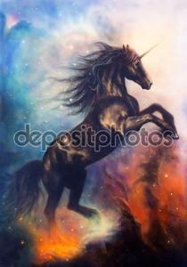 картина черный Единорог, танцы в пространстве