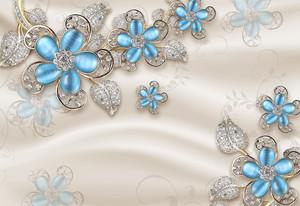 Голубые цветы на ткани