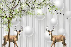 Олени под зеленым деревом