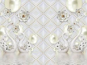 Две пары белых керамических лебедей на воде