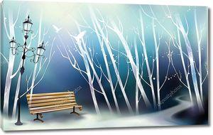 Зимний парк скамейки, фонарь