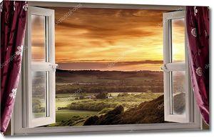 Открытое окно в сельский пейзаж