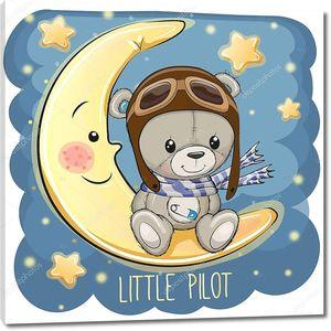 Милый плюшевый мишка в пилотной шляпе сидит на луне