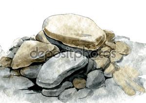 Акварель морем камни