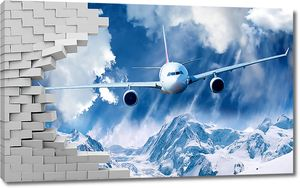 Самолет ломает стену, пролетая над горами