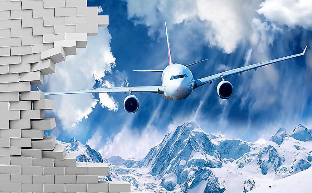 Фотообои «Самолет ломает стену, пролетая над горами», купить в интернет-магазине «Первое Ателье»™
