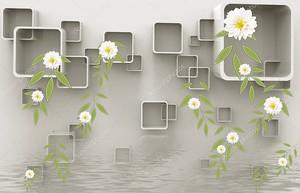 Квадраты с закругленными углами, вода и цветы