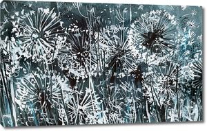 White dandelions on a dark-blue pattern, watercolor illustration, card, abstract background