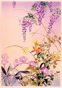 Цветы на нежном розовом фоне
