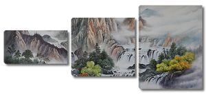 Каскад водопадов в скалах