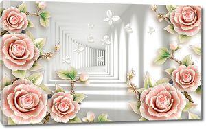Розовые розы с бесконечным тоннелем