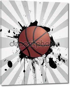 Баскетбольный мяч на полосатой стене
