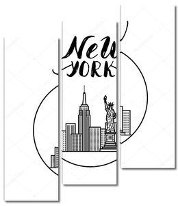 Иллюстрация Нью-Йорка с современной каллиграфии, здания города