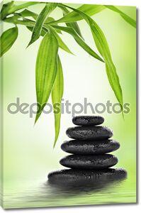 Zen базальтовых камней и бамбука
