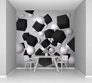 Абстрактный серый фон изготовлен из Черного Кубы и белый сферах